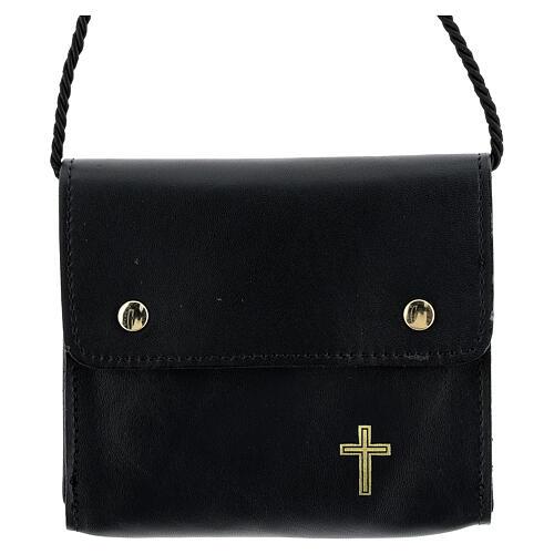 Paten burse 4x5 in real black leather 1