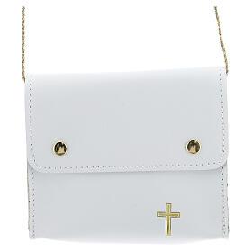 Paten bag 10x12 cm in white leather s1