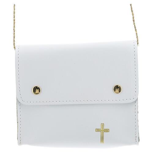 Paten bag 10x12 cm in white leather 1