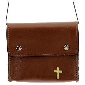 Paten bag 10x12 cm in brown leather s1