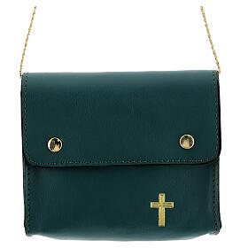 Paten bag 10x12 cm in green leather s1