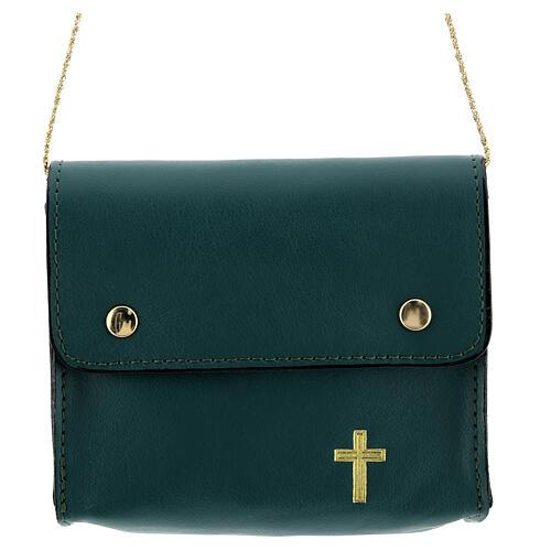 Paten bag 10x12 cm in green leather 1