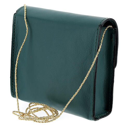 Paten burse 4x5 in real green leather 2