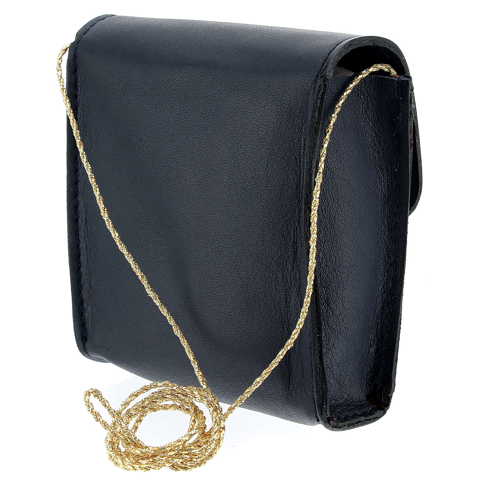 Paten case 9x9 cm in blue leather 4