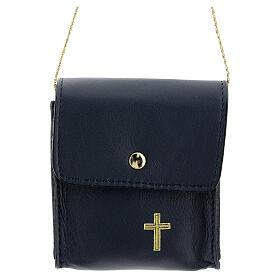 Paten case 9x9 cm in blue leather s1