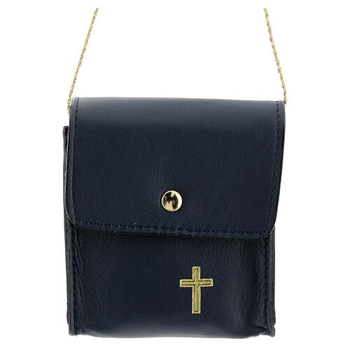 Paten case 9x9 cm in blue leather 1