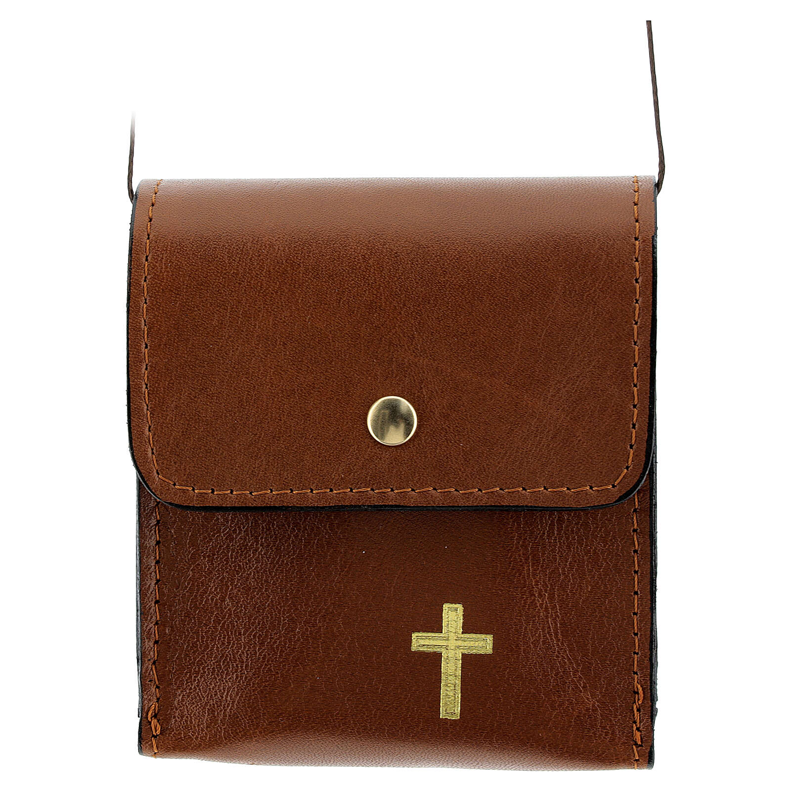 Paten case 9x9 cm in brown leather 4