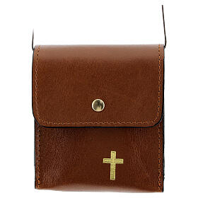 Paten case 9x9 cm in brown leather s1