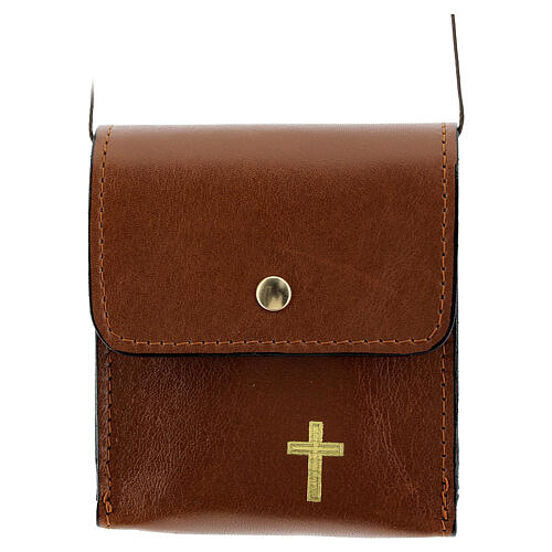 Paten case 9x9 cm in brown leather 1