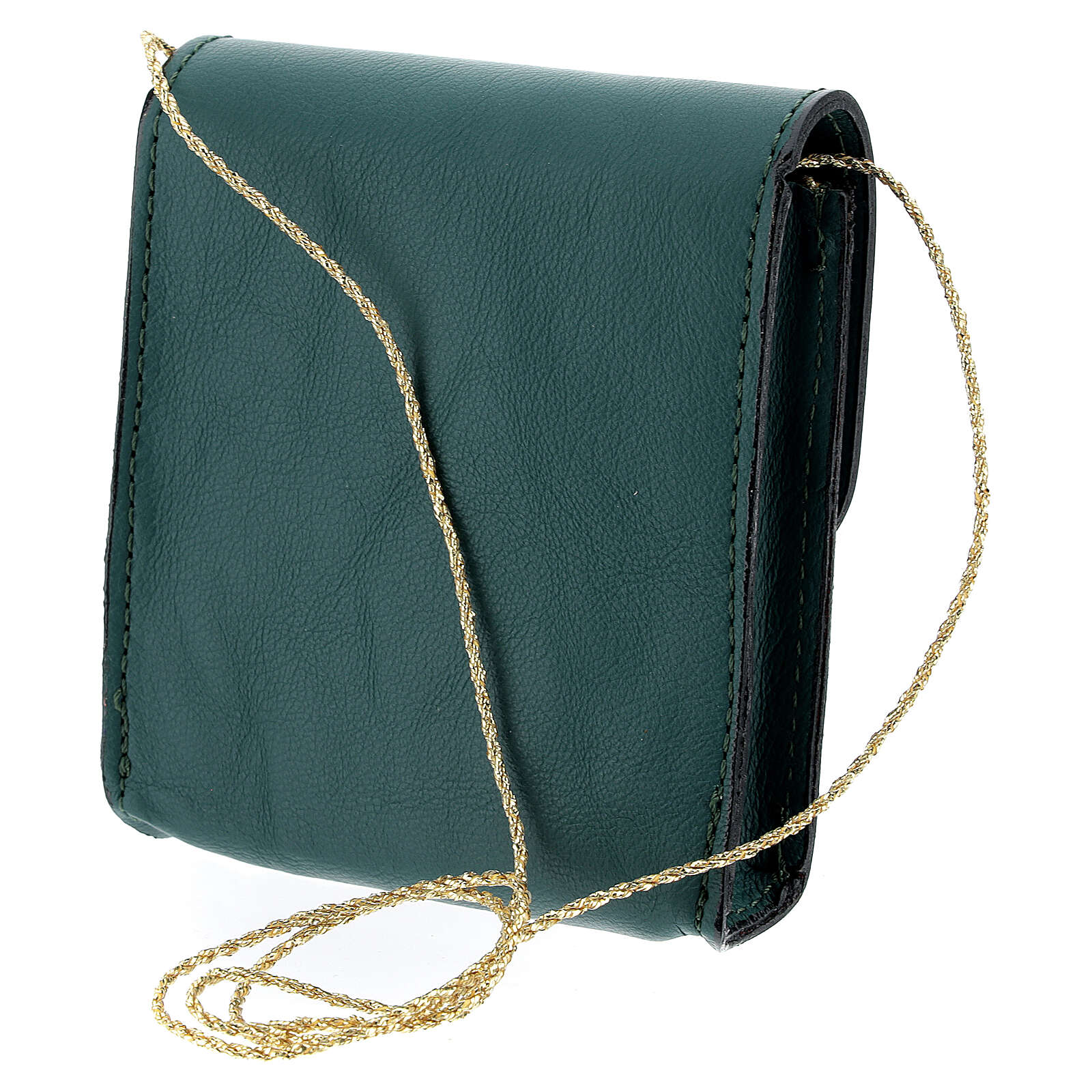 Paten case 9x9 cm in green leather 4