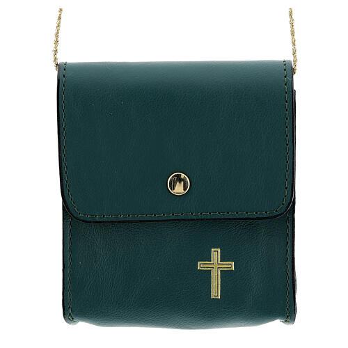 Paten case 9x9 cm in green leather 1