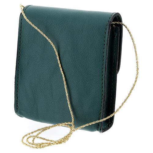 Paten case 9x9 cm in green leather 2
