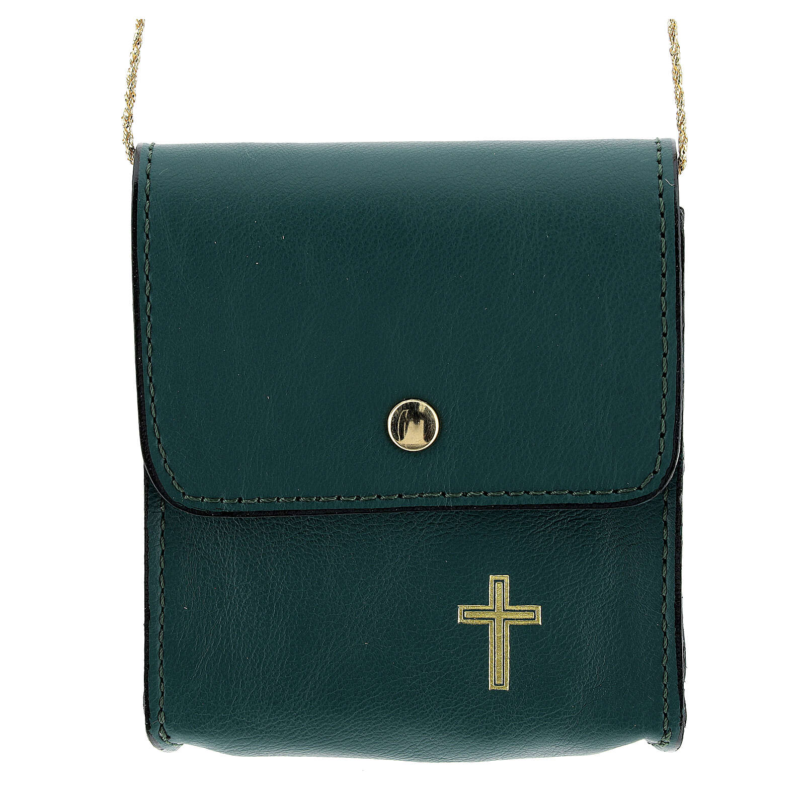 Paten burse 3 1/2x3 1/2 in of real green leather 4