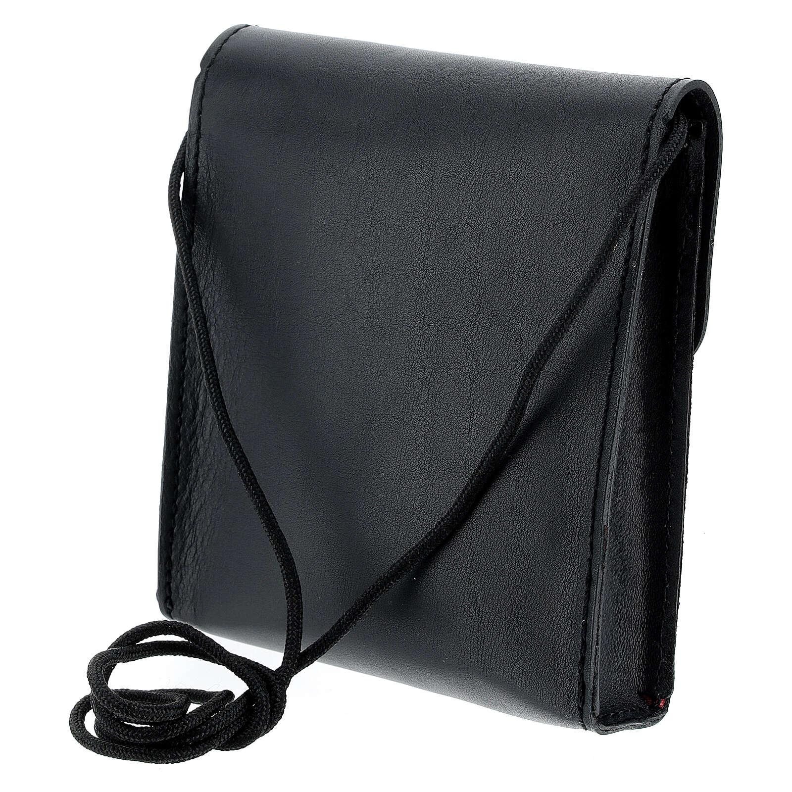 Sac rectangulaire pour patène 13x12 cm cuir véritable noir 4