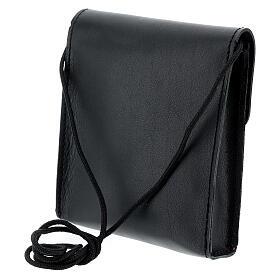 Sac rectangulaire pour patène 13x12 cm cuir véritable noir s2