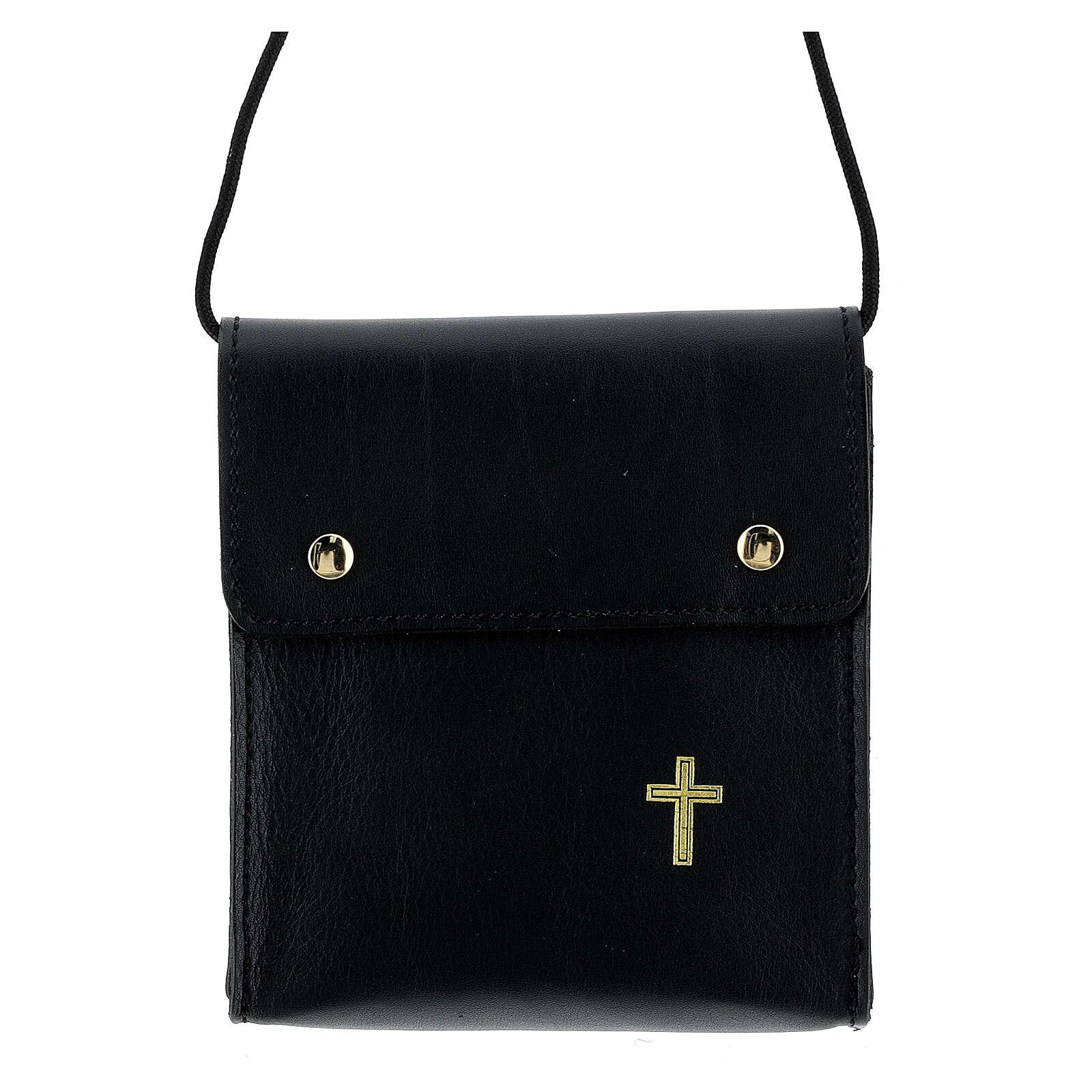 Rectangular paten burse 5x4 1/2 in real black leather 4