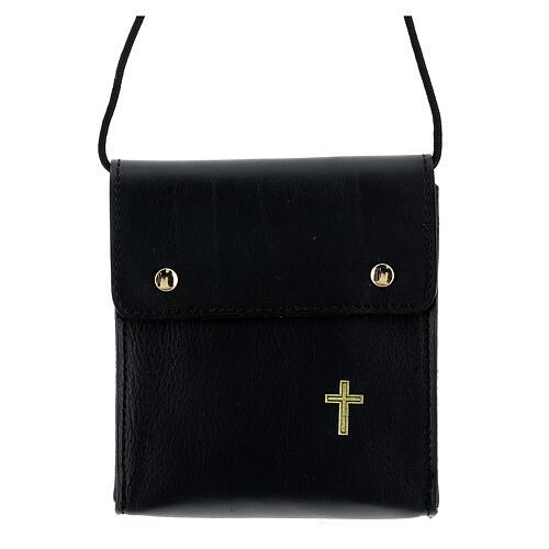 Rectangular paten burse 5x4 1/2 in real black leather 1
