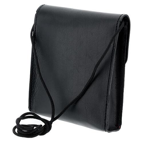 Rectangular paten burse 5x4 1/2 in real black leather 2