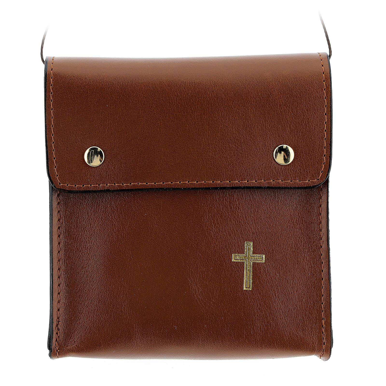 Sac rectangulaire pour patène 13x12 cm cuir véritable marron 4