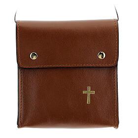 Sac rectangulaire pour patène 13x12 cm cuir véritable marron s1