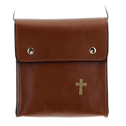 Sac rectangulaire pour patène 13x12 cm cuir véritable marron 1