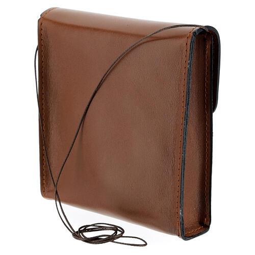 Sac rectangulaire pour patène 13x12 cm cuir véritable marron 2