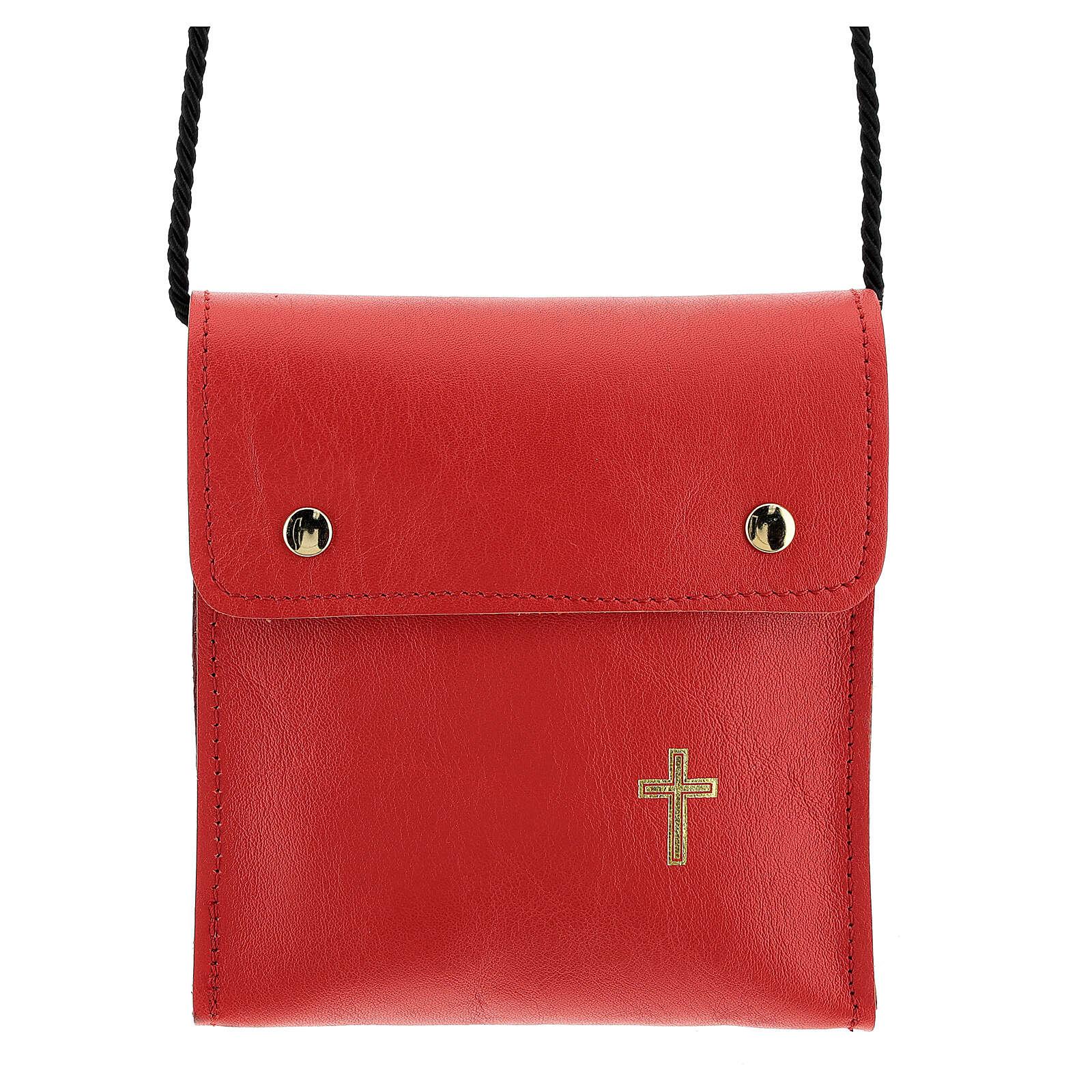 Sac rectangulaire pour patène 13x12 cm cuir véritable rouge 4