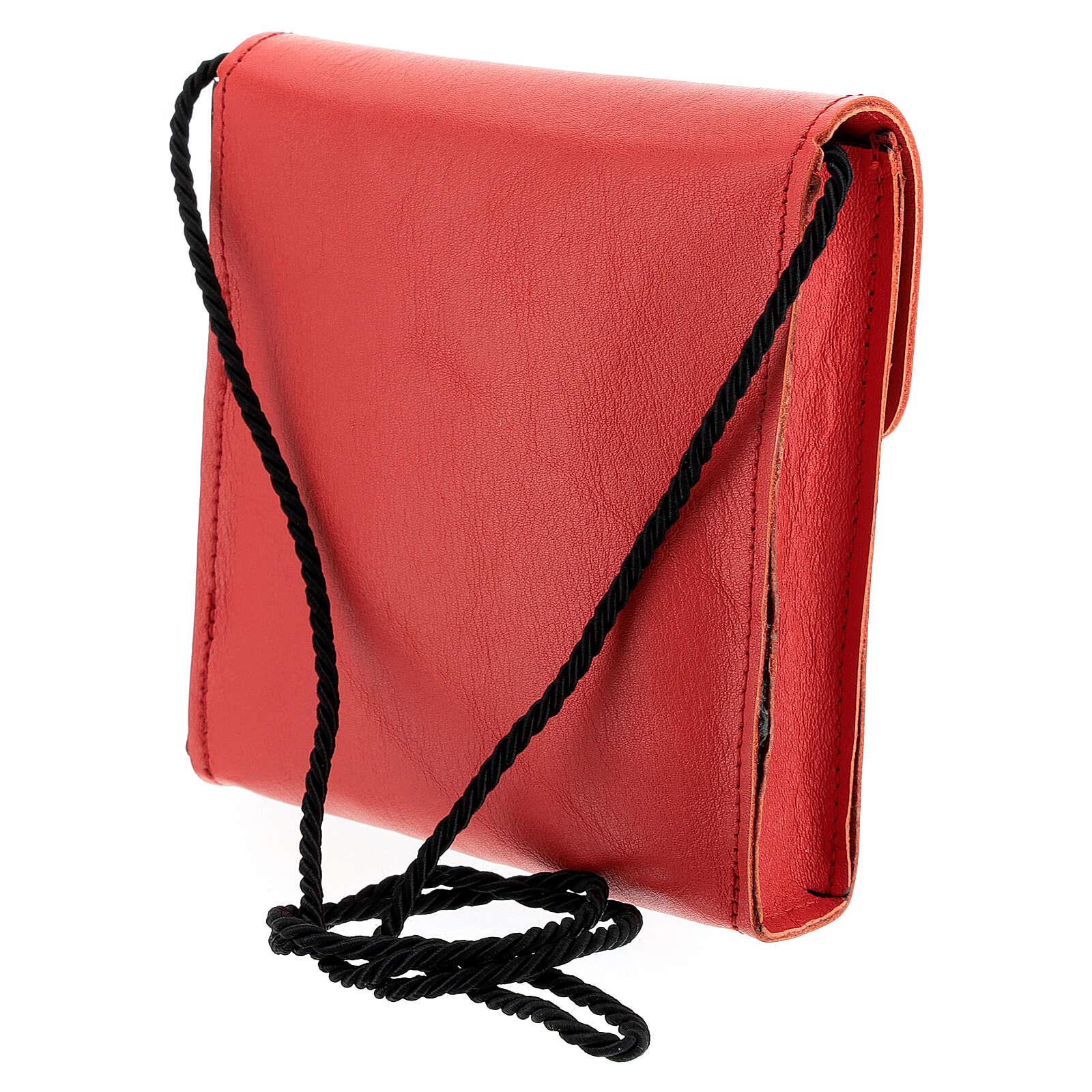 Borsa rettangolare per patena 13x12 cm vera pelle rosso 4