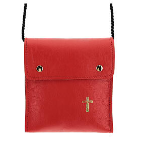 Rectangular paten burse 5x4 1/2 in real red leather s1