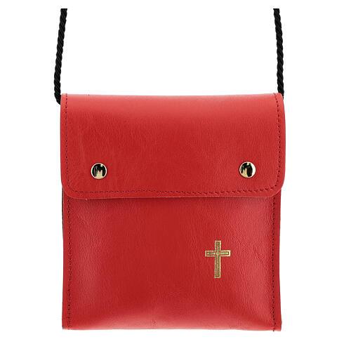 Rectangular paten burse 5x4 1/2 in real red leather 1