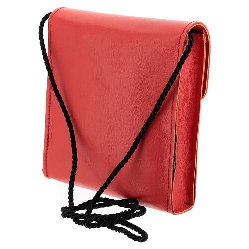 Rectangular paten burse 5x4 1/2 in real red leather 2