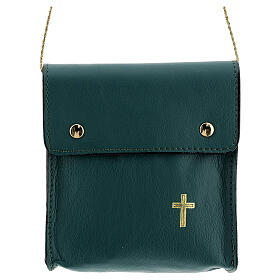 Rectangular paten burse 5x4 1/2 in real green leather s1
