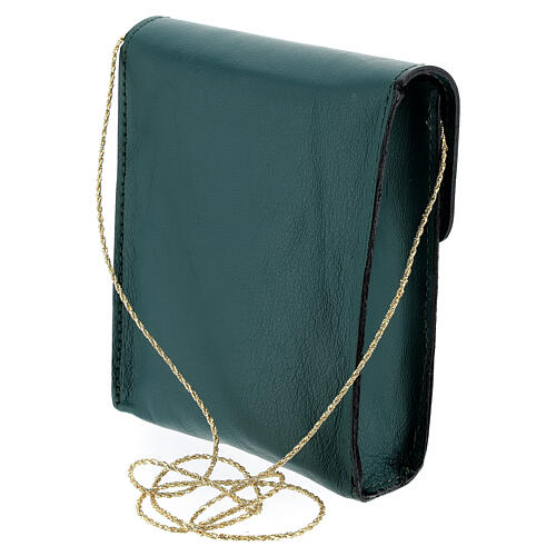 Rectangular paten burse 5x4 1/2 in real green leather 2