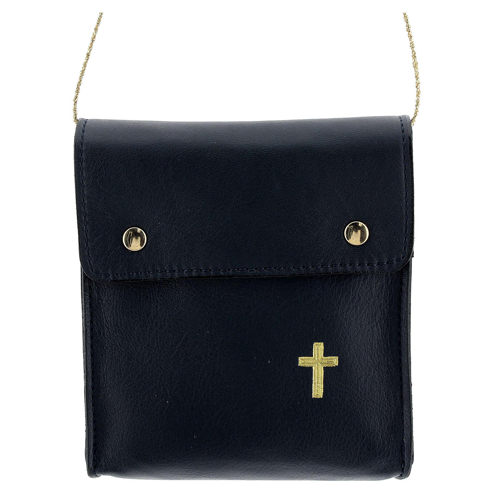 Sac rectangulaire pour patène 13x12 cm cuir véritable bleu 4