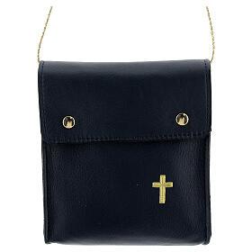 Sac rectangulaire pour patène 13x12 cm cuir véritable bleu s1