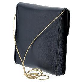 Sac rectangulaire pour patène 13x12 cm cuir véritable bleu s2