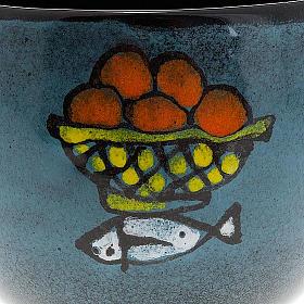 Calice en céramique turquoise pain et poisson s4