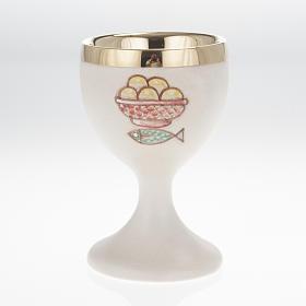 Calice ceramica cuoio interno ottone s1