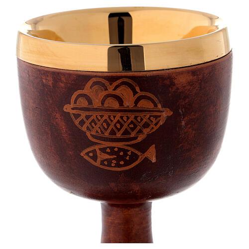 Calice ceramica cuoio interno ottone 2