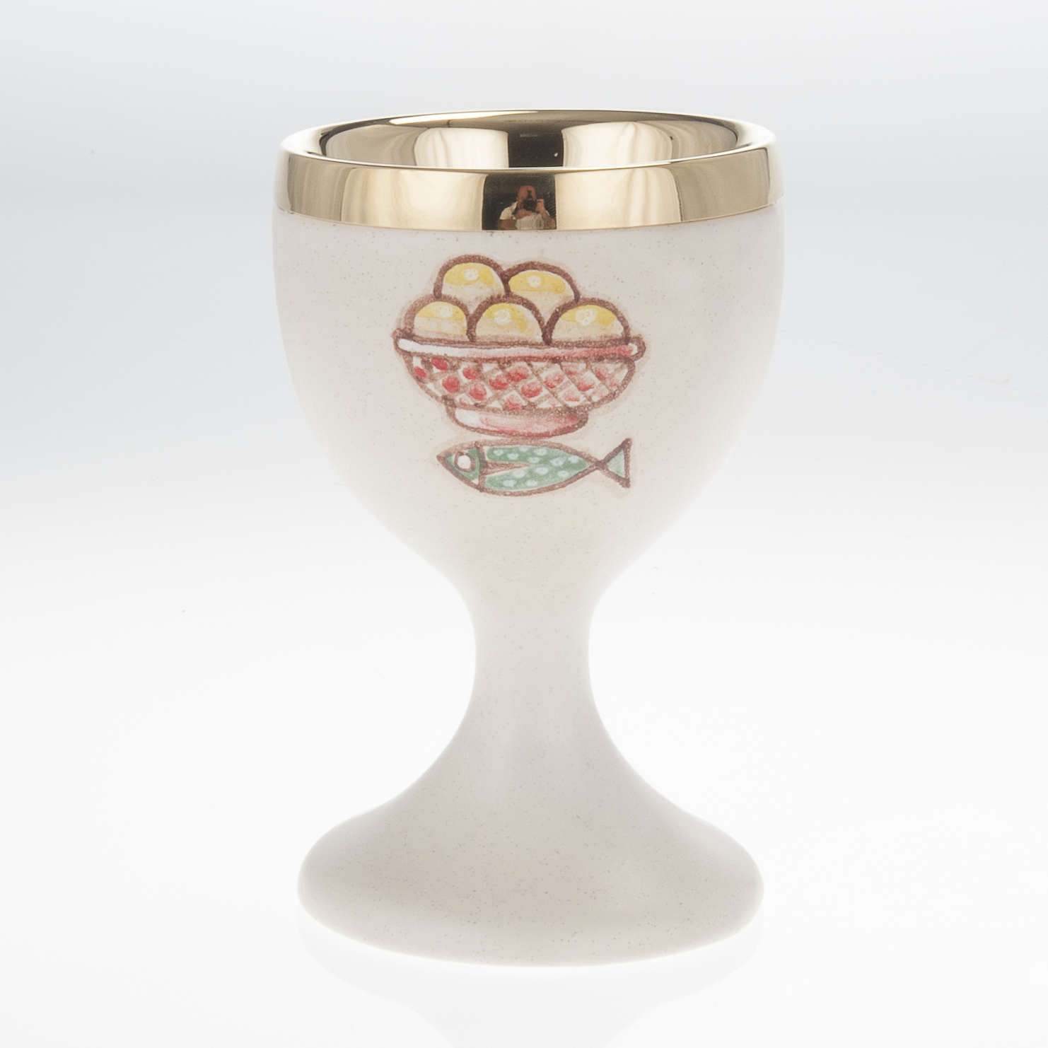 Brown ceramic communion chalice with cup 4