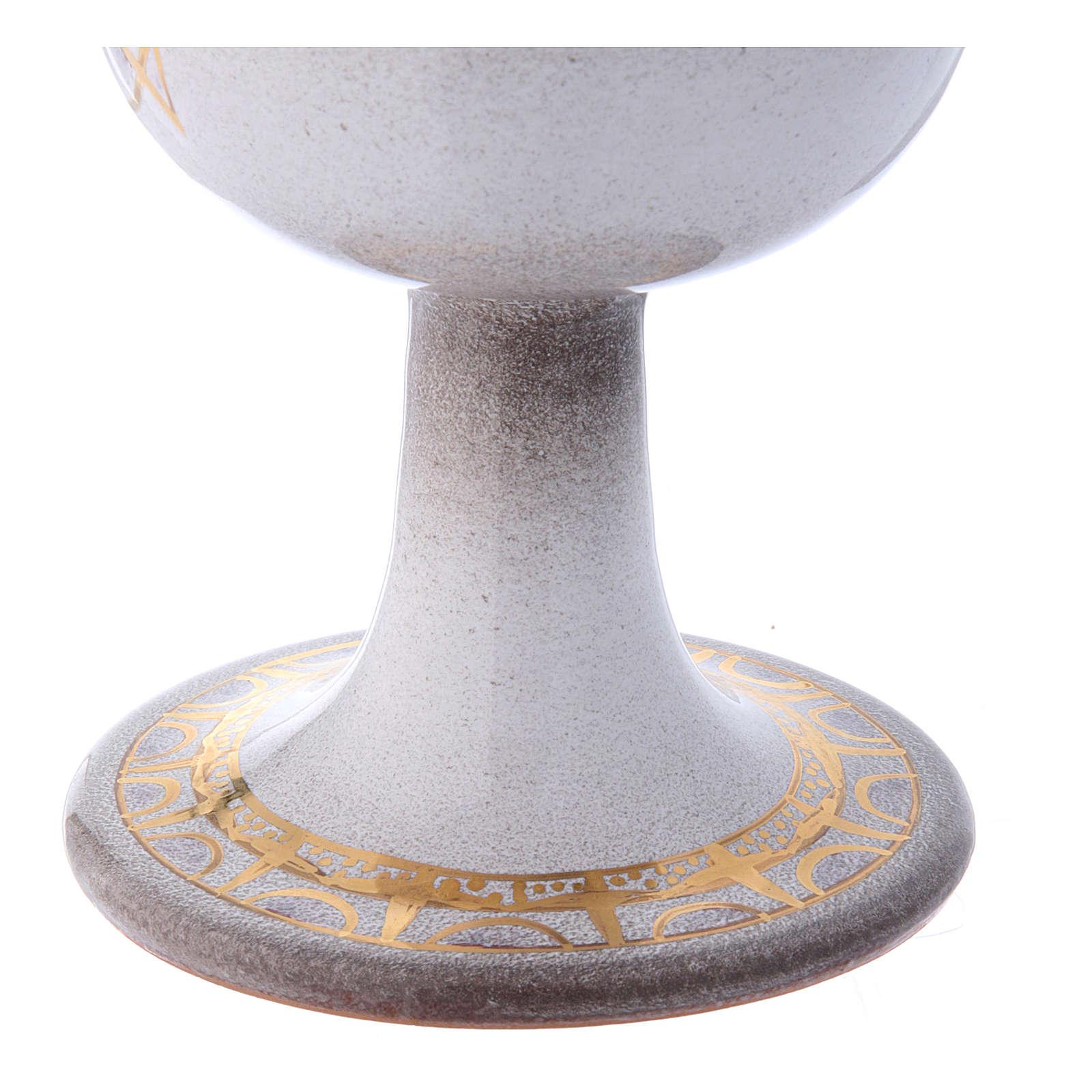 Calice céramique perle or décoré 4