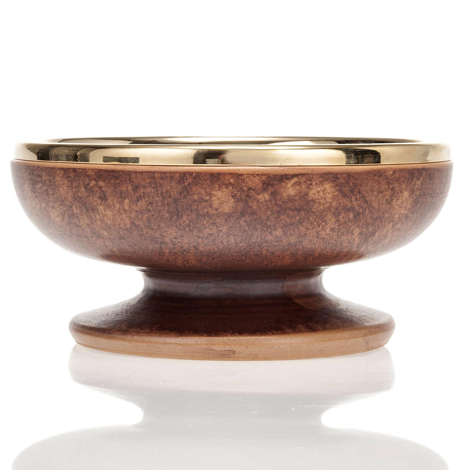 Ciboire en céramique et laiton doré, cuir 4