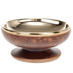 Pisside ceramica ottone dorato color cuoio s1