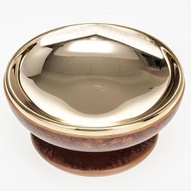 Pisside ceramica ottone dorato color cuoio s3