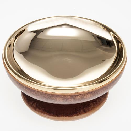 Pisside ceramica ottone dorato color cuoio 3