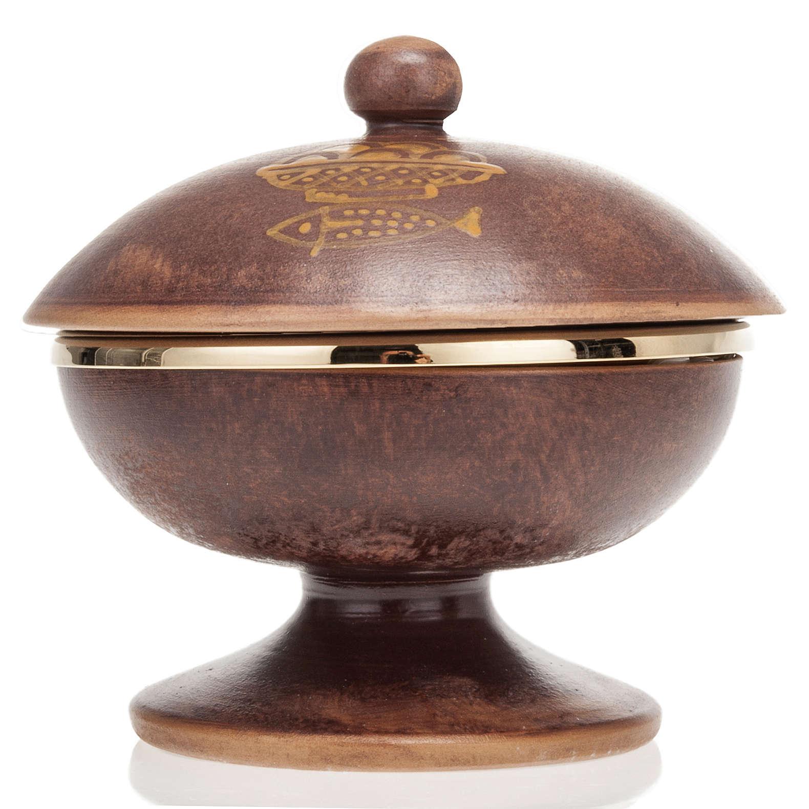 Pisside ceramica ottone dorato coperchio 4
