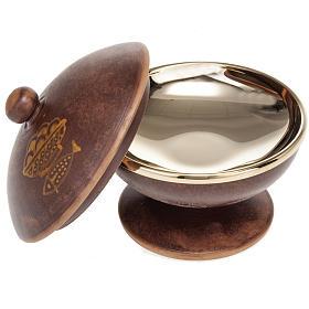 Pisside ceramica ottone dorato coperchio s2