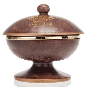 Pisside ceramica ottone dorato coperchio s3