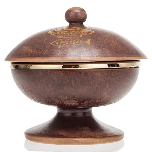 Pisside ceramica ottone dorato coperchio 3