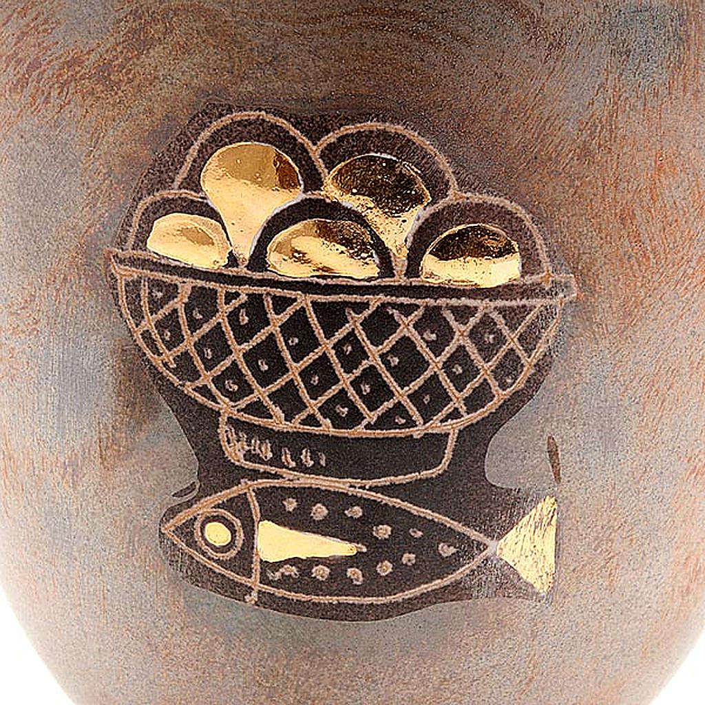 Caliz de cerámica pie redondo pan y pez 4